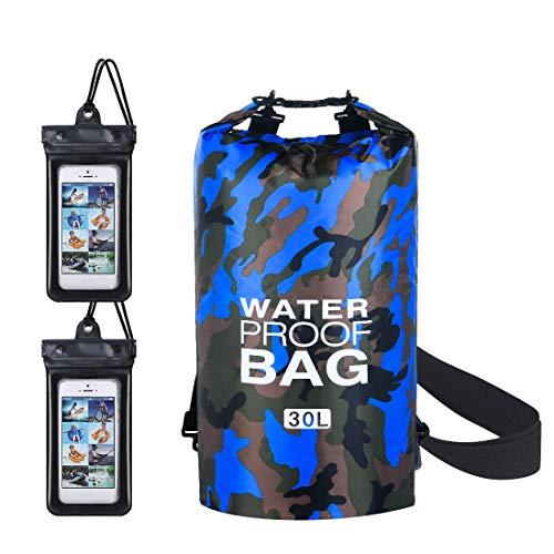 flintronic® Bolsa Impermeable, 30L Mochila Impermeable IP66, para Canoa Kayak Barco Camping Natación Rafting Velo Pesca, Azul Camuflaje (Incluye 2 PCS Bolsa Impermeable para Teléfono Celular)