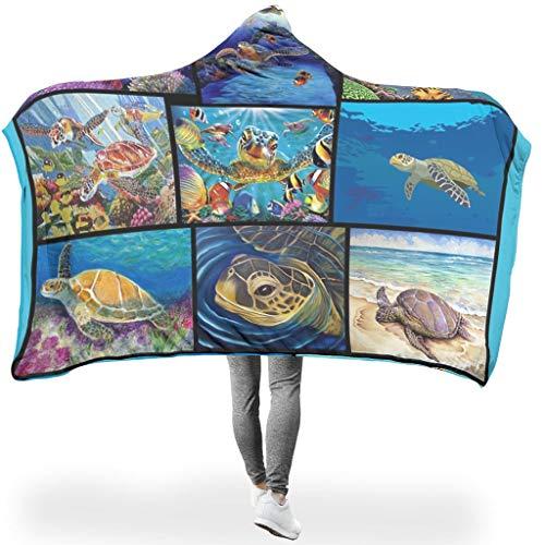 NC83 Draagbare deken, originele deken met capuchon, kunstrooster, thema's, bedrukt, lichtgewicht, ultra zacht, met schildpad, geschikt voor volwassenen en vrouwen