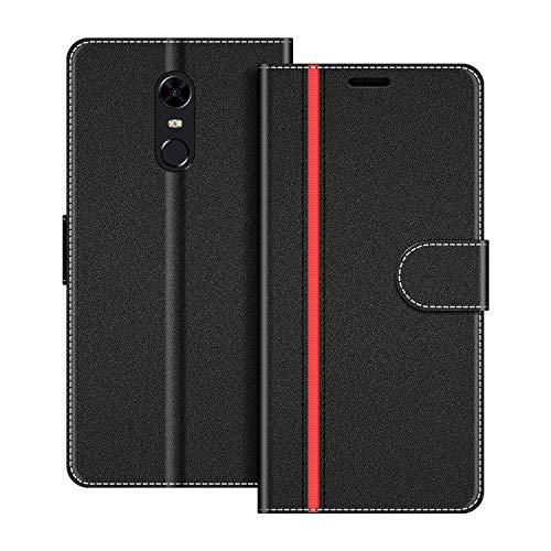 COODIO Handyhülle für Xiaomi Redmi 5 Plus Handy Hülle, Xiaomi Redmi 5 Plus Hülle Leder Handytasche für Xiaomi Redmi 5 Plus Klapphülle Tasche, Schwarz/Rot