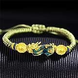 Toltec Lighting Feng Shui Riqueza Pulsera Cambio de Color Pixiu/Piyao Granos de la Pulsera de la Prosperidad Amulet Tejido a Mano el Dinero Atraer Regalo Brazalete de Amor Suerte para Mujeres/Hombres