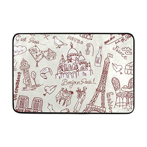 MONTOJ Paris Paradise Tapis de Salle de Bain Super Doux pour Salon, Chambre à Coucher, décoration d'intérieur, paillasson résistant à l'usure