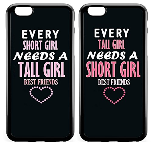 iPhone 6s BFF Case,Cute Funny Best Friends Forever BFF Sister Cousins Couple Every Tall Girl Needs A Short Girl Sisters BFF Matching Pink Funny Love Forever Soft Black Case for iPhone 6