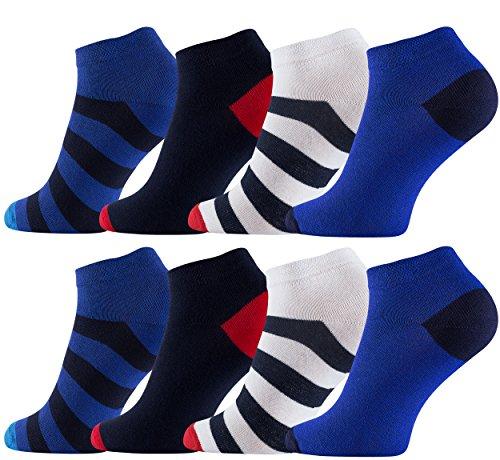 Vincent Creation 8 Paar Herren Sneaker-Socken Maritim, Füßlinge mehrfarbig mit Ringel