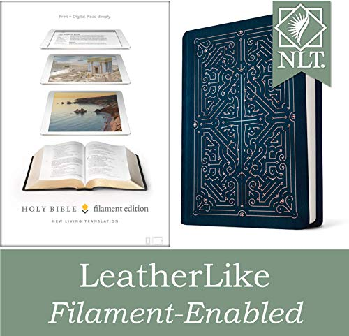 Filament Bible NLT (LeatherLike, Navy/Rose Gold): The Print+Digital Bible