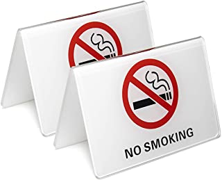 dealzEpic - No Smoking Table Top Tent Sign | White Acrylic Double-Sided Tabletop Sign - 4 x 2.7 inches | Set of 2