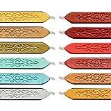 Vegena 12 Piezas Sellado de Palos de Cera, Vintage Cera de Sellado con Mecha de Fuego Antiguo manuscrito Cera de Sellado para Sello de Sello de Cera, Colores múltiples