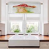 Aishare Store - Cortina para cenefas de cocina, diseño de erizo de la lluvia bajo una seta de gran tamaño, color vívido, 132 cm de ancho x 45 cm de largo para cocina, multicolor