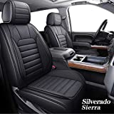 YIERTAI Silverado Sierra Car Seat Covers Full Set Fit for 2007-2021 1500/2500/3500 HD Pickup Waterproof Faux Leather Crew Double Extended Cab Cushion Covers Protectors(5 PCS Full Set/Black)