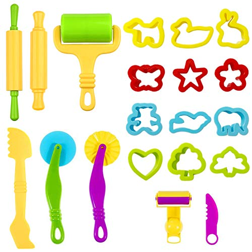 Knetwerkzeug Teig Plastilin Werkzeuge,20 Kinder Knete Zubehör Spielzeug,Vielseitiges Knete Werkzeug Kinder,Ausstechformen Küchenspielzeug,Playdough Sets,Modellierwerkzeug Knetwerkzeugset für Kinder