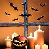 Gwhole 108pcs 3d Noir Bats Stickers muraux sticker mural pour fête d'Halloween Décoration de maison (Taille aléatoire)