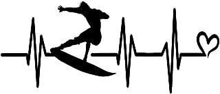 Makarios LLC Surfer Heartbeat MKR Aufkleber, Vinyl, Schwarz, 19,1 x 8,1 cm