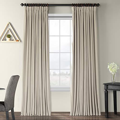 HPD Half Price Drapes VPCH-VET160405-84 Signature Extra Wide Blackout Velvet Curtain (1 Panel), 100 X 84, Cool Beige