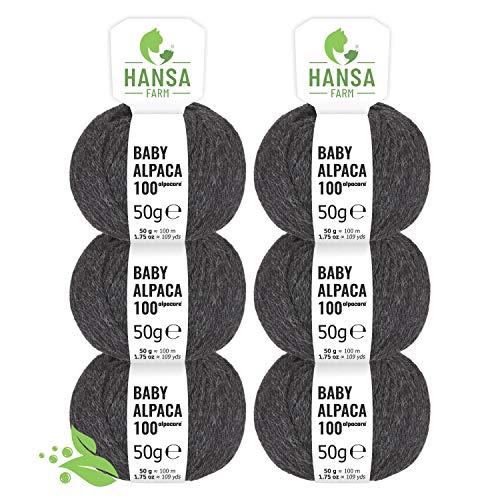 Alpacare - Ovillo de lana de alpaca para bebé (100% lavable, 300 unidades DK (6 x 50 g), lavable a máquina, 100% lavable, lana de alpaca sin arañazos, para punto y ganchillo, color antracita