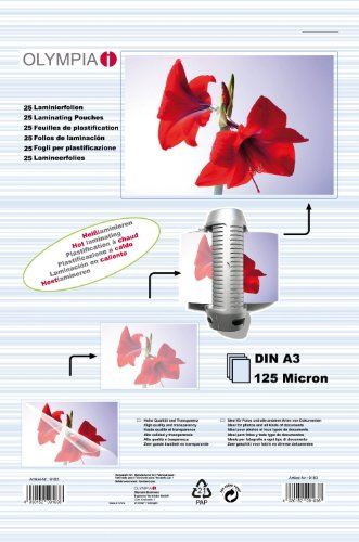 Olympia 9183 - Fundas para plastificar (A3, 125 micras, 25 unidades)