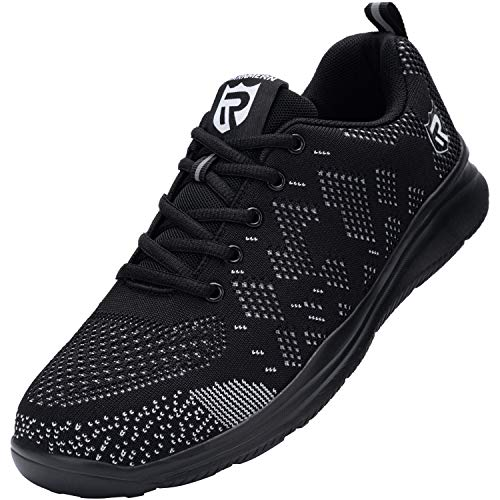 LARNMERN Chaussures de Sécurites pour Homme Embout de Acier Femme Travail Basket de Securite (42.5 Noir)