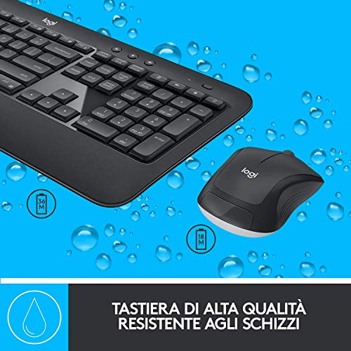Logitech MK540 Kit Mouse e Tastiera Wireless 2.4 GHz per Windows con Ricevitore USB Unifying, Tasti Rapidi Multimediali, Batteria Durevole, PC/Laptop, Layout Italiano QWERTY, Nero