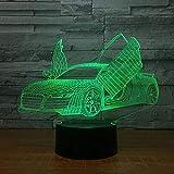 Luz Nocturna Multi elección cool deportivo coche coche 3D luz de la noche Noticias 7 colores que cambian LED escritorio lámpara de mesa 3D lámparas de ilusión para regalos