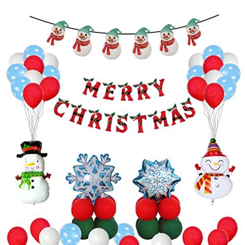 Wang Guozhang Weihnachtsballon Dekoration Set Santa Claus Konfetti Bogen Ballon Buchstaben Ziehen Flagge Kreative Decke Aluminium Film Latex 65pc (Color : 65pcs)