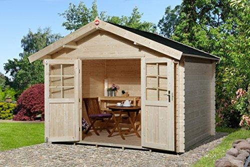 Kleines Gartenhaus mit Fußboden - Satteldach - 300 x 300cm - mit Dach: 333 x 360cm - große Doppelflügeltür