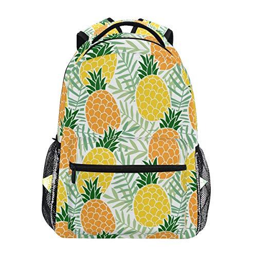 Ahomy Mochila Escolar para Adolescentes y niñas, con diseño Tropical Hawaiano y Hojas de piña, Mochila de Viaje, Bolsa de Senderismo para Mujeres y Hombres