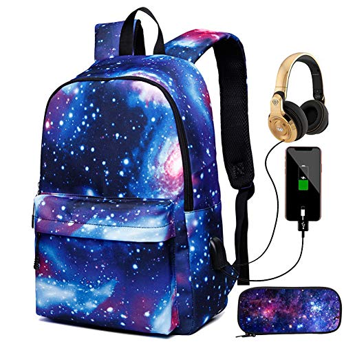 New Star Sky Printed Shoulders Bag with USB,With Headphone plug Backpacks