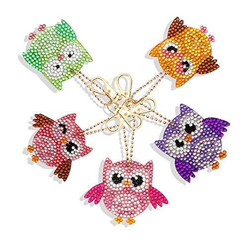 5D DIY Keychains Diamond Painting Kits for Adults Full Diamond Inlaid Cell Phone Handbag and Key Pendant Color Owls