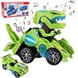 Rusee Transforming Dinosaur Toys, Transforming Dinosaur Car, Automatic Transform Dino Cars with Music and LED Light, Transform Car Toy for Kids Boys Girls Birthday Gifts (Green)