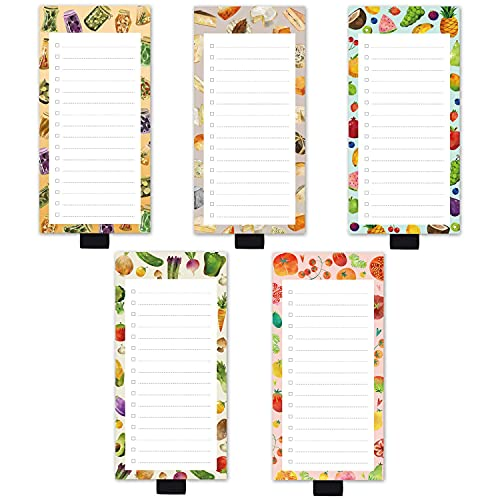 5 Pack Magnetic Notepads with Pen Holder,for Grocery, Shopping and to Do Lists with Checkbox,Note Pad for Refrigerator 3.3' x 3.8',50 Sheets (Fruits)