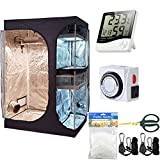 Hongruilite 36''x24''x53'' 2-in-1 Grow Tent Room w/Waterproof Floor Tray + Grow Light Hangers + Digital Hygrometer + 60mm Bonsai Shears + 24 Hour Timer + Trellis Netting Indoor Plant Grow Tent Kit