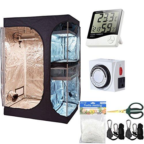 Hongruilite 36''x24''x53'' 2-in-1 Grow Tent Room w/Waterproof Floor Tray + Grow Light Hangers + Digital Hygrometer + 60mm Bonsai Shears + 24 Hour Timer + Trellis Netting Indoor Plant Grow Tent Kit