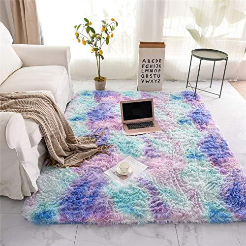 Holawakaka Shaggy Fluffy Faux Fur Area Rug for Bedroom Sofa Living Room Home Decor Multi-Color Rectangle Tie Dye Floor Mat Ultra-Soft Plush Fuzzy Rugs Carpet (3x5 feet, Blue Purple)