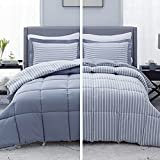 Bedsure Blue Queen/Full Comforter Set - 3 Piece Reversible Percale Stripes Down Alternative Box Stitching Duvet Insert with 8 Corner Tabs - All Season Bed Set with 2 Pillow Shams