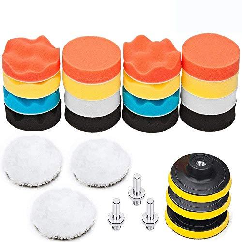 BangShou Esponja de Pulido Coche 25pcs Set de Almohadillas Para Pulir Almohadillas kit de Ajuste con Taladro Adaptador para Coche (Esponja pulidora de 3 pulgadas)