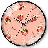 JJDSN Reloj de Cuarzo Coloreado, Borde Delgado Relojes de Dibujos Animados Reloj de Pared con patrón de Frutas Relojes silenciosos de precisión Reloj de Pared de supermercado Uso Familiar
