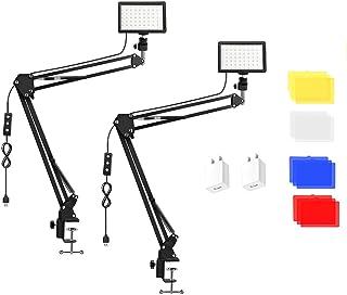 2 Packs 70 LED Video Light with Adjustable Desktop Suspension Boom Stand/Color Filters, Obeamiu 5600K USB Studio Lighting ...