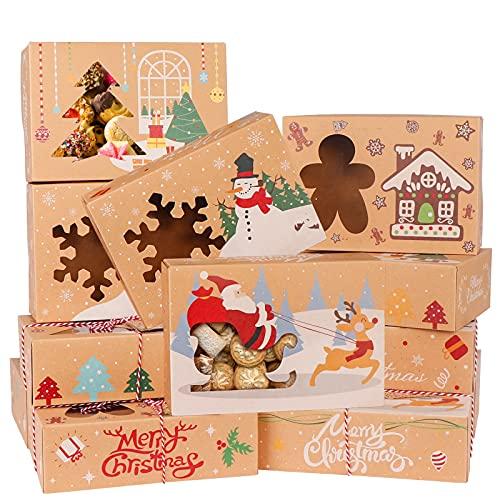 OurWarm - Confezione da 12 scatole per biscotti di Natale, per regali, per cupcake, per la vigilia di Natale, con finestra e etichette, scatole per dolci in carta kraft per regali di Natale