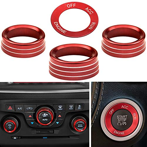 PEATOVIE Air Conditioner Central Control Knob Covers Engine Start Stop AC Radio Switch Button Decoration Compatible with Dodge Challenger/Charger (2015-UP) - Set of 4, Red…