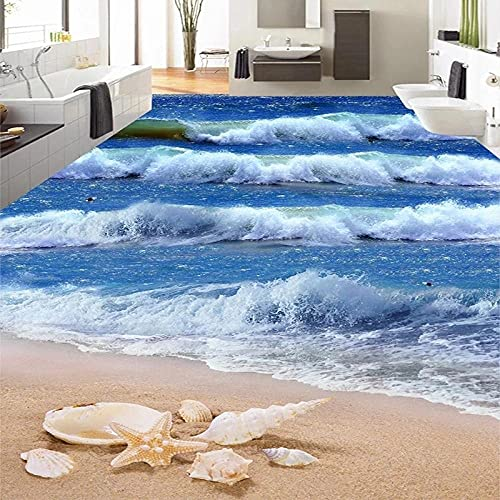 Foto personalizada Mural de suelo 3D Mar Ola Playa Estrella de mar Baño Azulejos 3D Papel tapiz autoadhesivo Mural Papel impermeable -200x140cm_
