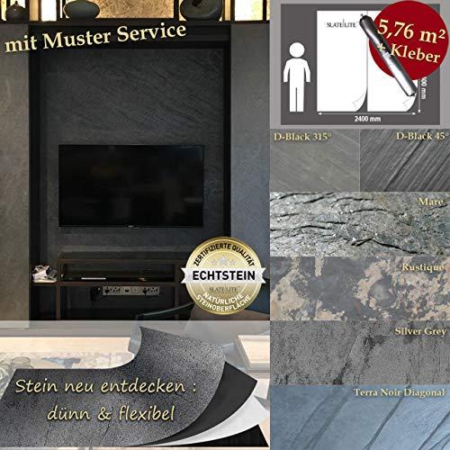 Wandverkleidung Schiefer Verblender Naturstein Steinwand - 5,76 m² KOMPLETT SET Mare Musterstück - DIN A4