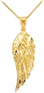 Textured 14k Yellow Gold Angel Wing Charm Pendant Necklace