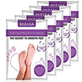Fußpeeling Maske 5 Paare, Reparatur der rauen Ferse und Entfernung abgestorbener Haut und Abblättern von Hornhaut, natürliche Peeling Fuß-Spa, Baby Smooth Soft Füße für Männer Frauen, Lavendel