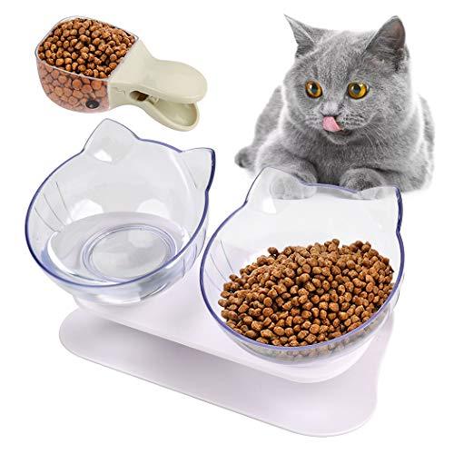 Joyibay Futternäpfe Katzenfutter, Doppelter Futternapf Katzen Rutschfeste Katzen Schüssel mit Angehobenem Ständer 15 ° Geneigt Katzennäpfe Set mit Futterschaufel Futternapf für Katzen Und Kleine Hunde