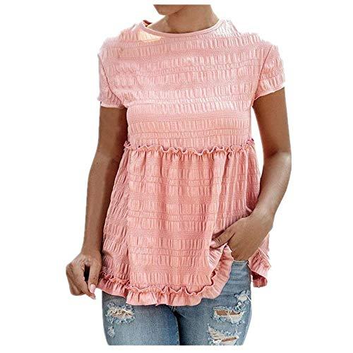 N\P Verano de la Moda de las Mujeres de la Camisa de la Blusa de Cuello Redondo Elegante Volantes de Manga Corta Casual Top de las Señoras