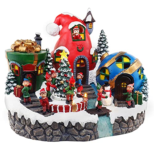 Elves Christmas Village Animated Pre-lit Musical Santa's Helpers Snow Village North Pole Gift and Decor Elf Town Perfect addition to your Christmas Indoor Decorations & Indoor Display