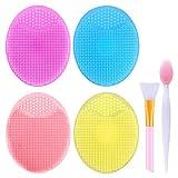 4 pezzi in silicone per la pulizia del viso, esfoliante per viso, in silicone, con pennello per labbra e applicatore in silicone, spazzola per la pulizia del viso, spazzola esfoliante manuale per viso