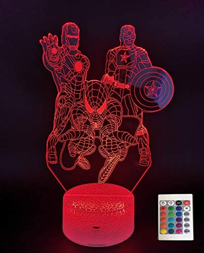 3D Illusion Night Lamp with Touch Remote Control 16 Colors Change Decor Lamp Iron Man Spiderman product image