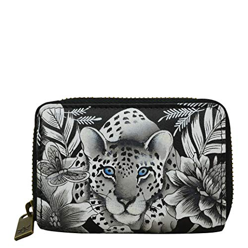 Anuschka Women's Genuine Leather Credit & Business Card Holder - Hand Painted Original Artwork - Cleopatra's Leopard -  1110-CLP