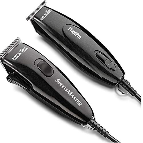 Andis 24075 Professional PivotPro And SpeedMaster Hair Clipper and Beard Trimmer PivotMotor Set, Black