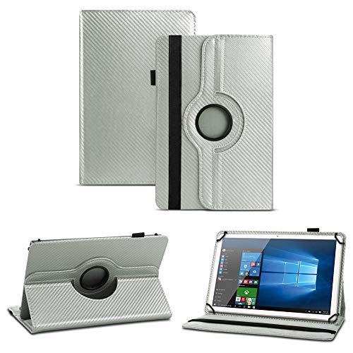 NAUC Schutzhülle für Smartbook S10 / S10Q Tablet hochwertigem Kunstleder mit Standfunktion und 360° Drehfunktion Hülle Cover Case Tasche Carbon-Look, Farben:Silber
