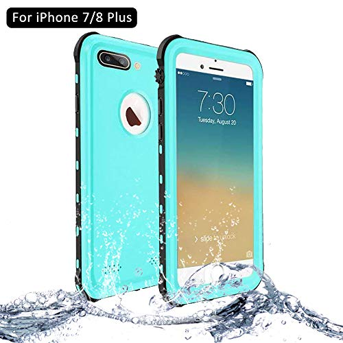 NewTsie Funda iPhone 7 Plus, Funda iPhone 8 Plus, Anti-rasguños Impermeable Carcasa Funda Case con Protector de Pantalla Submarino Caso para iPhone 7/8 Plus 5.5 Inch (B-Azul)